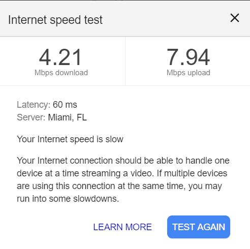 Internet speed test with RV Park Wifi