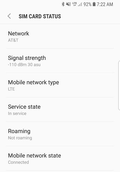 Screenshot of AT&T Cell service strength at Deland KOA